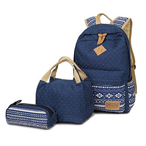 Zaino scuola, supstar zaino casual kit 3 in 1 tela zaini ragazza / donna + borsa per il pranzo + astuccio (blu)