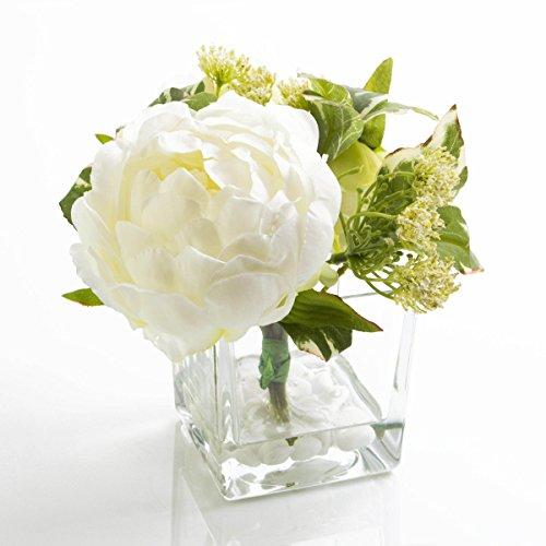 Ramo con rosas y Paniculata artificial en recipiente de cristal, blanco, 16cm, Ø14,5cm - centro artificial / arreglo floral / flor sintética - artplants