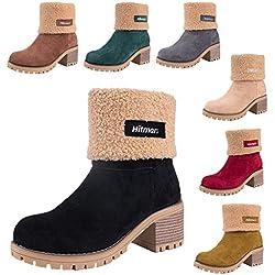 Botas Mujer Invierno Forradas Cálidas Botines Serraje Tacón Ancho Medio 6CM Plataforma Zapatos Nieve Cómodos Casual Negro EU 40