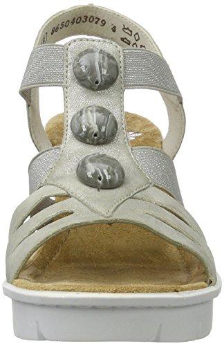 Rieker V6548, Sandales Bout Ouvert Femme Gris (Grey / 40)