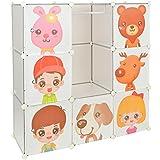 Armario estantería para la ropa, perchero para el pasillo, para niños, Ropero Aparador Estante en blanco transparente con motivos de animales
