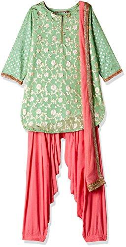 Biba Girls' Salwar Suit Set (KW2432_MINT GREEN_7)