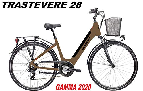 LOMBARDO BICI TRASTEVERE Ruota 28 Motore 250w 35Nm Batteria Integrata 504Wh 36v 14ah Gamma 2020 (Brown Tan Black Matt, 44 CM)