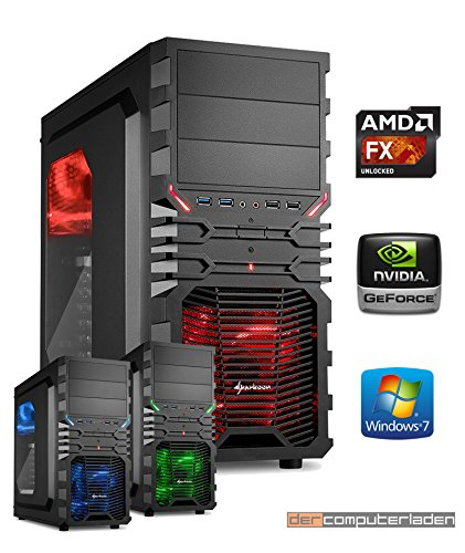 Gamer PC System AMD, FX-8350 8x4,0 GHz, 32GB RAM, 1000GB HDD, nVidia GT730 -4GB, inkl. Windows 7 (inkl. Installation) Gaming Computer Büro Multimedia dercomputerladen