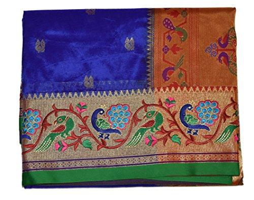 Aruna Fashions Self Design embroidered Semi Silk Saree(InkBlue color saree with Green...