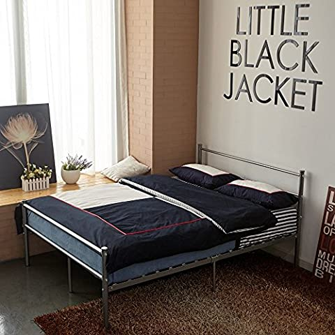 Aingoo Single Bed Frame Cama doble del diseño del metal 2 plazas Estructura Metálica Marco CONFORT 190x135cm