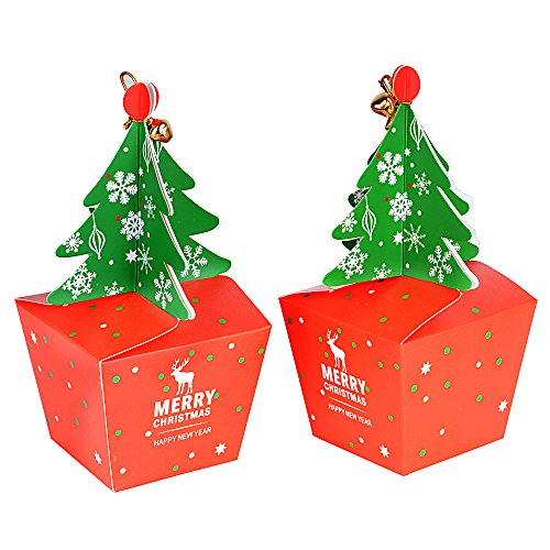 FLOFIA 25pcs Cajas Cajitas Regalo Navidad Cartón