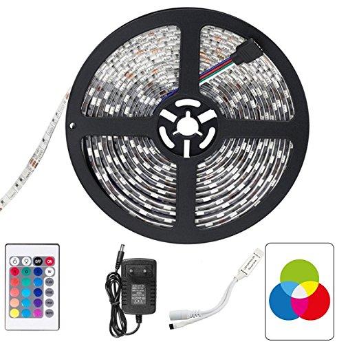 Inateck - Tira de Luz Impermeable LED flexible,16.4ft / 5M ,5050 RGB SMD 300 LED de color cambiante Kit con mando a distancia 44 Key IR + 12V 5A Fuente de alimentación para decoraciones de Navidad y Halloween