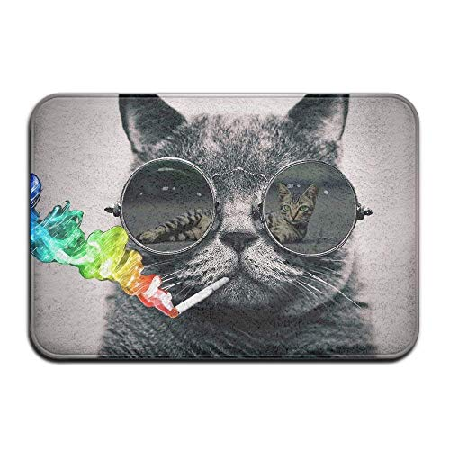 JIEKEIO Non-Slip Mat 40X60cm/23.6(L) X15.7(W) Inch Doormat Cat with Sunglasses Non-Slip Rug - Collection Kitchen Dining Living Hallway Bathroom Pet Entry Rugs