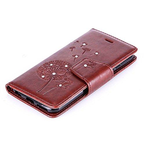 JAWSEU Schmetterling Muster Leder Schutzhülle für iPhone 6/6S,Elegante Retro Einzigartige Rot Diamant/Bling/Glitzer/Strass/Glänzend Schmetterling Blumen Pu Leder Magnetverschluss Strap Protektiv Flip  Pusteblume,Braun