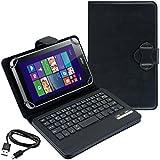 kwmobile Hülle mit QWERTY Tastatur für Acer Iconia W4-820 mit Ständer - Kunstleder Tablet Schutzhülle in Schwarz