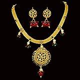 Surat Diamonds Traditional Rajasthani Spellbinding Polki Necklace & Earring Set for Women (PS99)