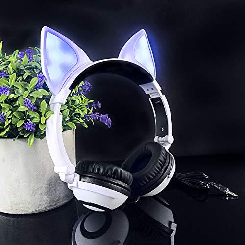 LIMSON verdrahtete Faltbare Kinderkopfhörer-weiße 3.5mm Stecker-blinkende Kopfhörer für PC Laptop-Computer-Handy MP3-MP4