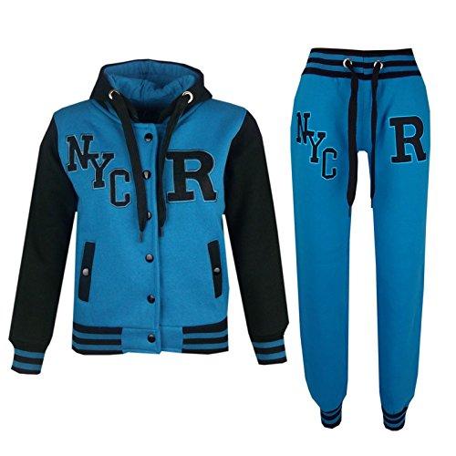 (A2Z 4 Kids® Kinder Mädchen Jungen Baseball Trainingsanzug NYC FOX Jacke & Hose - T.S Baseball NYC Turquoise 2 Years)
