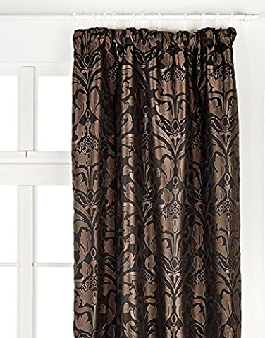 Just Contempo Luxury Jacquard Pencil Pleat Lined Curtains, Black, 46x54 inches
