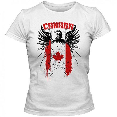Canada Adler #2 Premium T-Shirt | Kanada | Flagge | Weißkopfseeadler | Frauen | Shirt, Farbe:Weiß (White L191);Größe:M (T-shirt Kanada-tag)