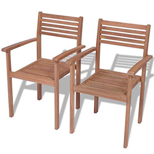 vidaXL Teck 2X Chaises Empilables d'Extérieur Terrasse Mobilier de Jardin