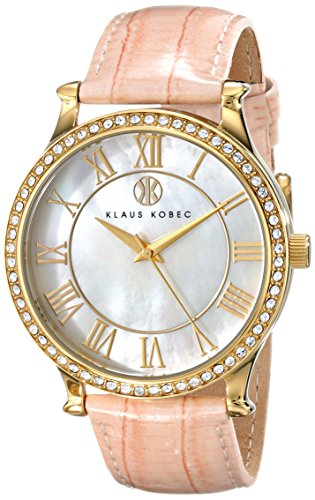 Klaus Kobec Women's KK-10003-02 Lily Gold-Tone Stainless Steel Watch with Pink Leather Band