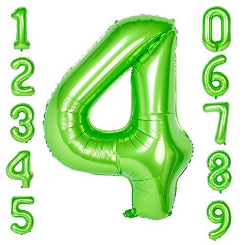CHANGZHONG 40-Zoll 0-9 in Grün Nummer Foil Ballons Helium Zahlenballon Luftballon Riesenzahl Party Hochzeit Kindergeburtstag Geburtstag Number 4