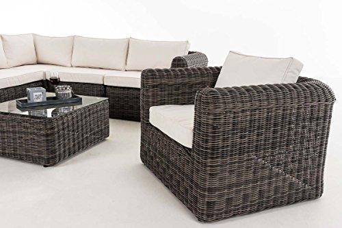 CLP Polyrattan Gartengarnitur Marbella | Sitzgruppe mit 6 Sitzplätzen | Gartenmöbel-Set: EIN Ecksofa, EIN Sessel und EIN Beistelltisch Bezugfarbe: Cremeweiß, Rattanfarbe: Graumeliert