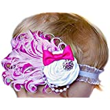 SODIAL(R)1pc Baby Girl Kids Infant Feather Headband Hair Band Hair Flower Rose Red Bow