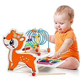 Labirinto di Perline di Legno e Abaco e Strumenti Musicali per Xilofono per Bambini in Legno, Regalo Giocattolo in Legno…
