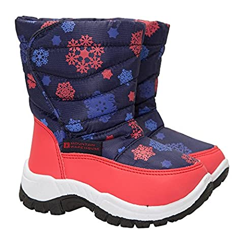 Mountain Warehouse Caribou Printed Junior Snow Boots - Snow Proof with Fleece Lining & High Traction Sole - Great to keep child's feet cose & snug on cold winter days Navy 8 Child UK