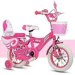 Bicicleta niña 14 Pulgadas - Niño 4-9 años de Edad - Neumático Inflable - Ajuste cómodo - Pequeño cableado - Blanco Tire Princess Bike