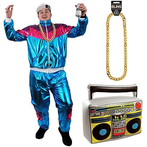 Shell Fancy Dress Suit Kostüm - ILOVEFANCYDRESS Rapper Shell Suit KOSTÜM VERKLEIDUNG=MIT UND OHNE ZUBEHÖR=HIP HOP Shell Suit =SCHLECHTER Geschmack Plastik Anzug=FASCHIN Karneval=Radio+XLarge