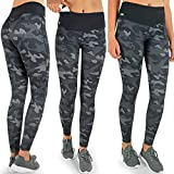 Formbelt Damen Laufhose mit Tasche lang - Leggins Stretch-Hose hüfttasche für Smartphone iPhone Handy Schlüssel (Camouflage Dark S)