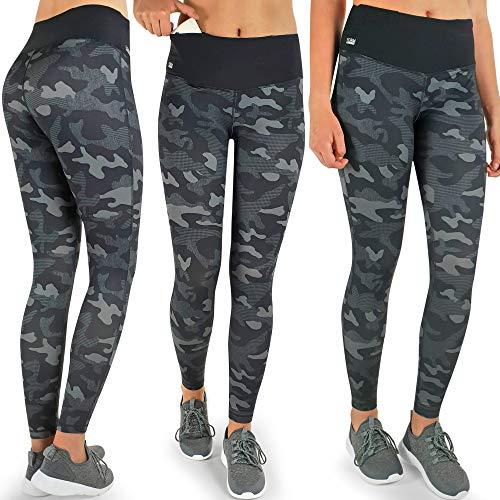 Formbelt® Damen Laufhose mit Tasche lang - Leggins Stretch-Hose hüfttasche für Smartphone iPhone Handy Schlüssel Camouflage XXL