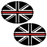 Biomar Labs 2 x PVC Autocollant Voiture Auto Moto Drapeau National UK Royaume-Uni Union Jack l'Angleterre Thin Red Line Oval Flag B 241