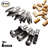 Acero de alto carbono Cortador de taladro de madera Brocas de corcho 8 piezas (4 estándar y 4 de cuatro dientes)