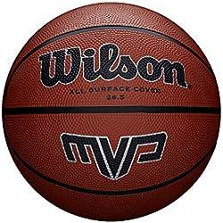Wilson Ballon Basketball Extérieur, Surface Rugueuse, Asphalte, Granuleuse, Sol synthétique, Taille 7, À partir de 12 ans, MVP, Brun