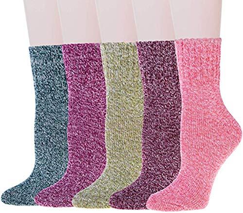 Aisprts Mujer Calcetines, 5 Pares Calcetines de Lana Cálidos de Confort Casual de Mujer de Invierno Vintage Calcetines de Lana EU 35~42 (5SOCKS-2)