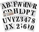 Stencil Plantillas - Plantillas del Alfabeto - 10 cm de altura - Alphabet y Números 0-9, Mayúsculas Roman - en 9 hojas de 295 x 200mm