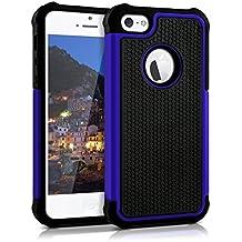 kwmobile Funda híbrida para > Apple iPhone SE / 5 / 5S < en azul negro. Interior de gel TPU, ¡estructura rígida! Ideal para uso al aire libre y ultramoderna