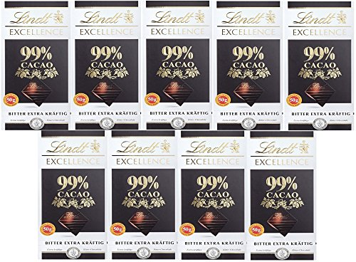 Lindt & Sprüngli Excellence Bitter 99%, 9er Pack (9 x 50 g) (Lindt Schokolade Gourmet)