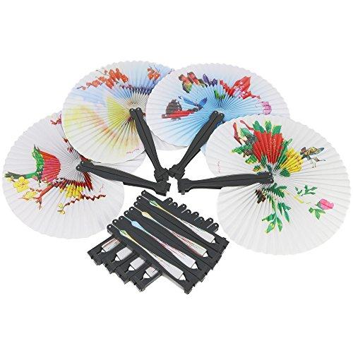 COM-FOUR® 12x Papierfächer mit unterschiedlichen Orientalischen Motiven, Asiatische Hand-Fächer, 25,5 x 23,5 cm (Japanische Geisha Kostüme Zubehör)