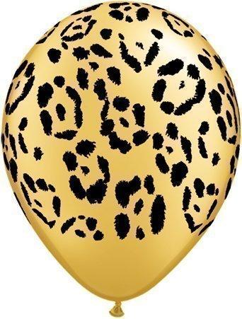 Safari Tier Leoparden Muster Ballons x5 - Qualatex 28 cm
