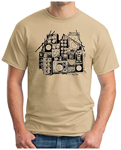 OM3 - MUSIC BOX - T-Shirt DJ BOOM Rockabilly Rap Hip Hop House Rock PUNK INDIE RnB, S - 5XL Khaki