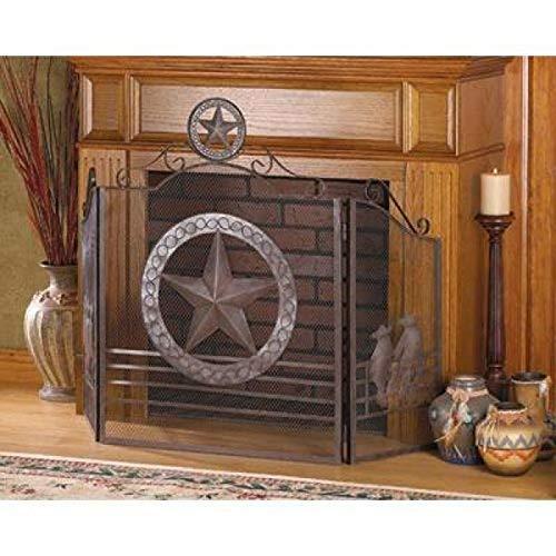 AW Lone Star Folk Art Texas Western Kamin Bildschirm w/Metall Aussparungen und rustikal Verwitterte Finish - Western Front Metall