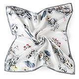 Neuleben Nickituch aus Seide Blumen Tuch Bandana Halstuch für Damen 12 Muster (Grau)
