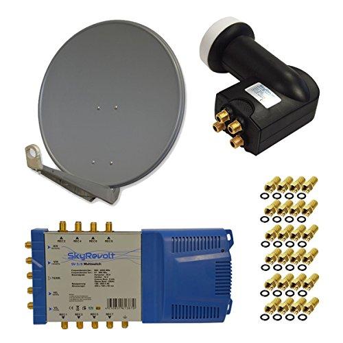 PremiumX DELUXE100 Antenne 100 cm ALU Anthrazit + SkyRevolt Multischalter SV 5/8 Multiswitch Sat Verteiler + SkyRevolt Quattro LNB HDTV + 24x F-Stecker Digital SAT Anlage