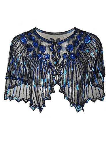 Blaues Kostüm Kleid Flapper - Grouptap Gatsby blau Lavendel 1920er Jahre Schal Bolero Pailletten Cape Achselzucken Wrap für Frauen Damen Flapper Art Deco Vintage Kleid Kostüm (Blau Lavendel, Einheitsgröße)