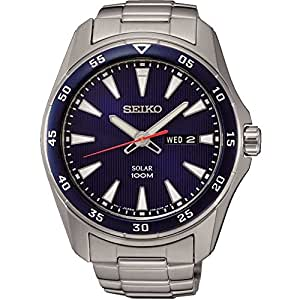 Seiko SNE391P1 Solar Stainless Steel Analouge Blue Dial Men's Watch- [SNE391P1]