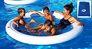 BEACH ART-Hamaca Flotante Inflable Agua SPA con Red 190cm, Color Blanca y Azul, 190cm, M190