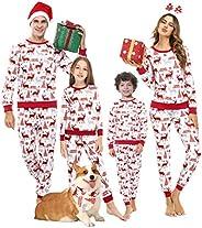 Akalnny Pigiama Famiglia Indumenti da Notte Abiti Natalizi Tuta Elegante 2PC Uomo Donna Bambini T-Shirt Natale