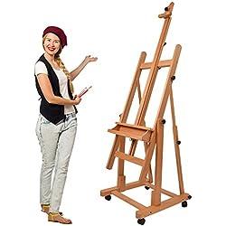 Artina Chevalet Professionnel d'Atelier Verona - En Bois Massif de Hêtre - 4 Roulettes - Double support Robuste - Qualité supérieure - Hauteur: 185cm
