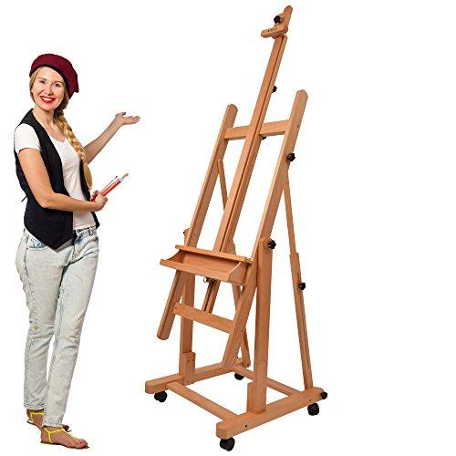 Artina Profi Atelierstaffelei Verona als Studio-Staffelei auf 4 Rollen, massives Buchen-Holz für...